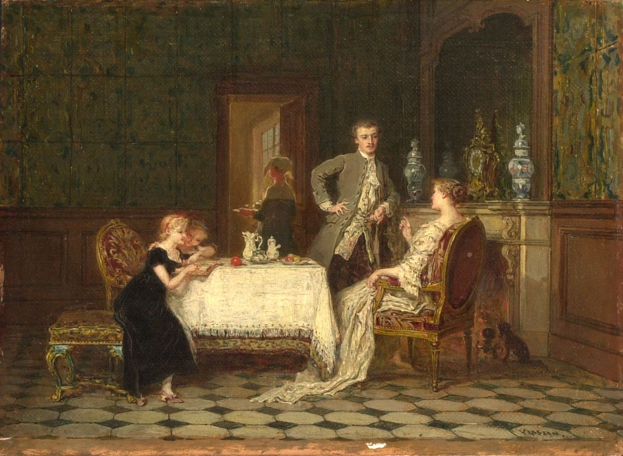 La famille heureuseAntoine-Émile Plassan, entre 1840 et 1900, huile sur toile, 15,5 x 21 cmCollection Musée national des beaux-arts du Québec, 1959.621Photo : MNBAQ, Pierre-Luc Dufour © Don de la succession Maurice Duplessis