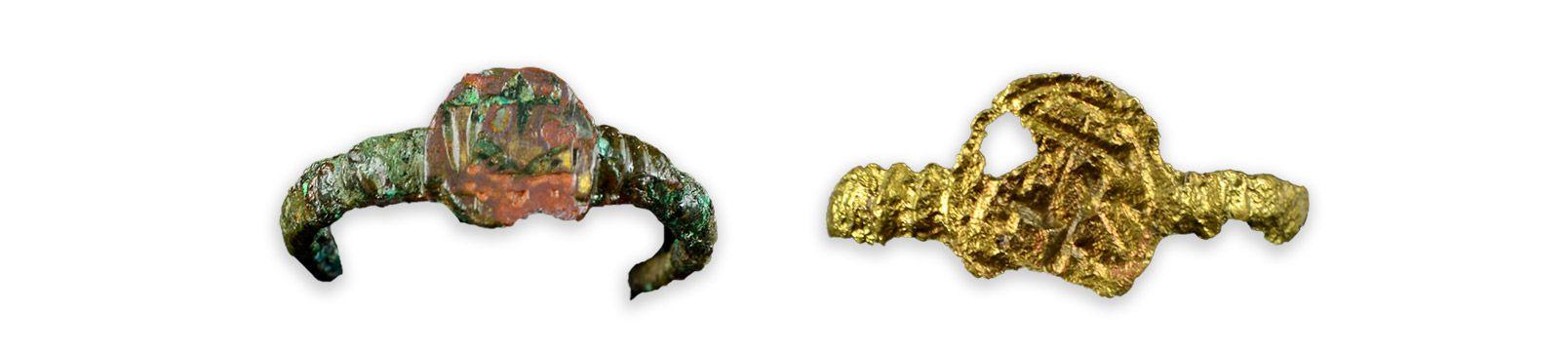 Bagues dites « jésuites »MCC/LRAQ, photo: Aurélie DesgensSite patrimonial de l'Habitation-Samuel-De Champlain. Vers 1575-1600 à 1624Site patrimonial de l'Habitation-Samuel-De Champlain. Vers 1688-1800Deux bagues dites «jésuites» en alliages cuivreux, décorées du monogramme christique (IHS) et du motif L-Coeur. Souvent offerts lors de rituels et de fêtes, ces présents visent à sceller les amitiés et les alliances. Le système du don et du contre-don facilite les relations sociales tout en marquant le statut des individus au sein du groupe.